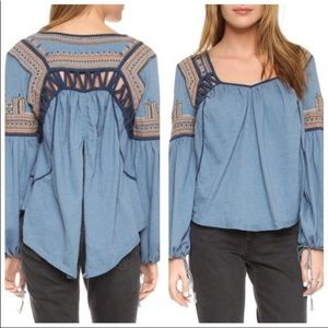 Free People Embroidered Peasant Bell Sleeve Blouse
